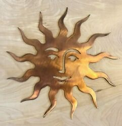 Sun Face Wall Metal Art Hanging with Rustic Copper Finish