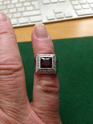18ct White Gold Garnet And Diamond Ring Dias 0.45cts Approx Size N1/2 Rrp Andpound2200