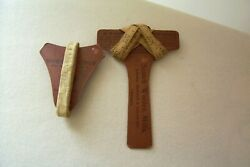 2 Rare Antique Advertising Scotch Woolen Mills - The Worsted Kings Tape Holders