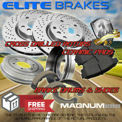 Front Drilled Rotors Pads And Rear Drums Shoes For 2002 Chevrolet Express 3500 Drw