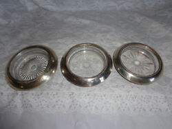 Set Of 3 Frank M. Whiting Co.sterling Silver 04 Pat Pending Sunburst Coasters