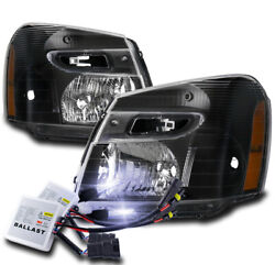 For 2005-2009 Chevy Equinox Ls Lt Black Replacement Headlight Lamp +10k Hid Kit