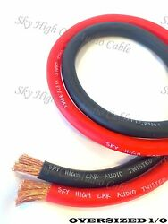 10 Ft 1/0 Gauge Awg 5and039 Black And 5and039 Red Oversized Power Ground Wire Sky High