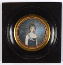 Portrait Of A Young Woman In Landscape, Fine French Miniature, Ca 1800
