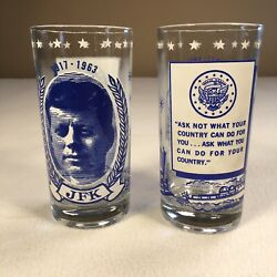 Jfk Glass Set Of 2 Inauguration Collectibles 5.5 Tall Kennedy Pt 109 Ask Not