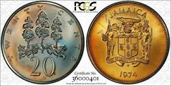 1974-fm Jamaica 20 Cents Pcgs Ms67 Nice Multi Toned Coin Only 3 Graded Higher
