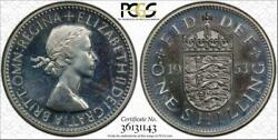 1953 Great Britain Shilling English Reverse Pcgs Pr64 Toned Only 7 Graded Higher