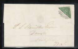 Nova Scotia 4a Very Fine Used Rare Bisect On Cover With Certificate