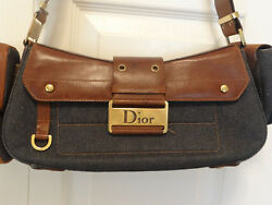 Christian Dior designer canvas  bag with matching wallet