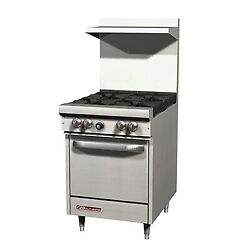 Southbend S24e 24 S-series Gas Restaurant Range, 1 Space Saver Oven, 4 Burners