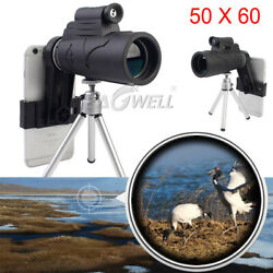 Monocular 50x60 Zoom Optical Hd Lens Telescope +tripod+clip Kit For Cell Phones