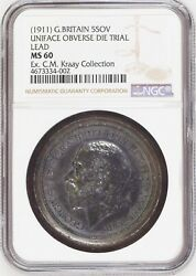UNIQUE 1911 Great Britain 5 Pound Uniface Obverse Die Trial in Lead NGC MS 60