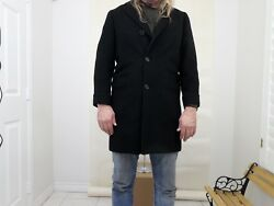 800 Mens Black Overcoat ¾ Lengt 100 Cashmere Size40 Tailored Boyds Of Philly