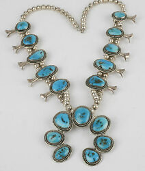 Vintage Navajo Native American Sterling And A+ Grade Blue Turquoise Squash Blossom