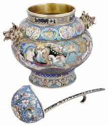 AN ENAMELLED SILVER-GILT BOWL AND LADLE RUSSIAN STYLE- FEODOR RUCKERT