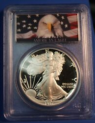1987 S American Silver Eagle Proof Pcgs Pr70 Dcam Eagle Label