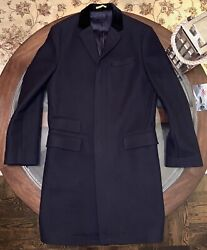 Rugby Size 40r 100 Flannel Wool Topcoat Velvet Collar Navy Blue