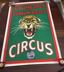Ringling Bros Barnum And Bailey 1940and039s Leopard Circus Poster Rare/excellent