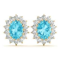New 14k Yellow Gold Diamond And Oval Cut Swiss Blue Topaz Halo Post Earrings