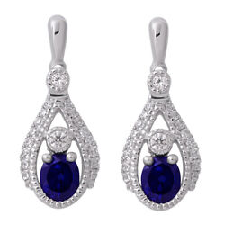 New 14k White Gold Diamond And Blue Sapphire Oval Drop Earrings