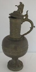 Antique Early Large Pewter Water Or Beer Pitcher Griffin Finial And Fine Repousse