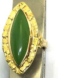 22k Yellow Gold Genuine Gold Nugget Ring With Marquee Green Apple Jade