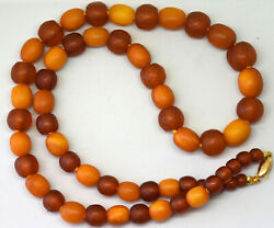 Antique Natural Baltic Butterscotch Amber Necklace With 18k Solid Gold Clasp