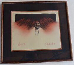Vintage Fine Frame Low Limited Edition Crows Serigraph Print By Frank Howell