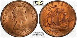 1966 Great Britain Half Penny Pcgs Ms64 Rd Bu Toned Coin Only 6 Graded Higher