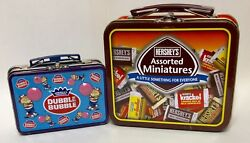 Lot Of 2 Vintage Small Lunch Boxes Hershey Miniatures And Double Bubble