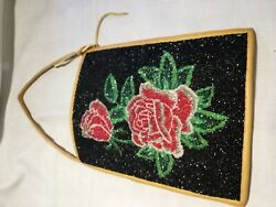 Native American Beaded Bag Rose Design 1940s (Arapaho)