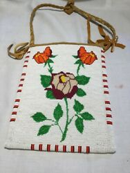 Native American Beaded Bag Beautiful Floral Design (Shoshone)