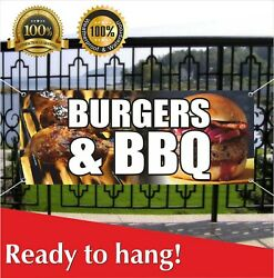 Burgers And Bbq Banner Vinyl / Mesh Banner Sign Deep Fried Fries Fish Fry Hot Dog