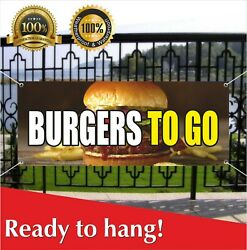 Burgers To Go Banner Vinyl / Mesh Banner Sign Deep Fried Fries Fish Fry Hot Dog