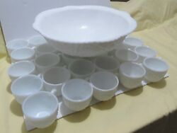 Vintage Concord Milk Glass 29 Cups By Mckee Pressed Glass No Punch Bowl Broken