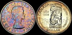 1958 Canada British Columbia Silver Dollar High Quality Color Toned Coin
