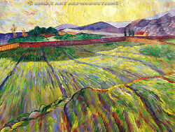 Wheat Field With Rising Sun, Vincent Van Gogh Reproduction In Oil, 54x42