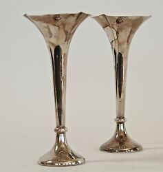 Old Pair Of Sterling Silver Weighted Bud Vases James Dixon And Sons, Sheffield