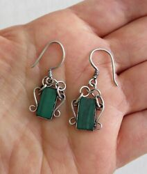 Vtg Art Deco Irish Scottish Green Malachite Sterling Silver Drop Dangle Earrings