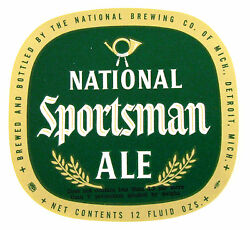 National Brewing Co Of Mich National Sportsman Ale Beer Label Mi 12oz