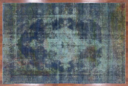 7and039 8 X 11and039 5 Overdyed Hand Knotted Wool Area Rug - Q2013