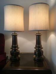 Pair Of Antique Brass Stiffle Table Lamps With Original Shades