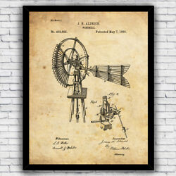 Windmill Vintage Farmhouse Patent Wall Art Print Decor - Size And Frame Options