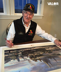 T26e3 Pershing Eagle 7 Print Autographed By Spearhead Hero Clarence Smoyer And +