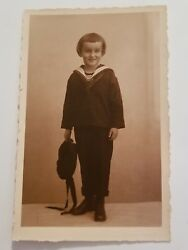 Vintage Real Photo Postcard German Child Boy Sailor Outfit Very Short Bangs