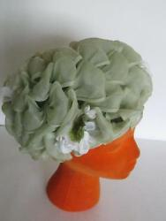 Vintage 1960's Mint Green Voile Scrunched Ribbon Hat With White Roses Flowers