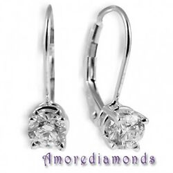 1.05 Ct Natural Round Diamond F Si1 Leverback Solitaire Earrings 18k White Gold