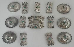 Huge Sterling Silver Turquoise Scalloped 14 Piece Concho Belt Butterflies Buckle