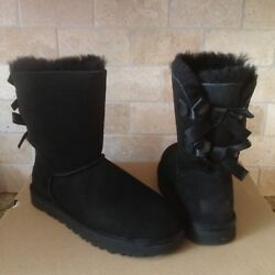 Ugg Short Bailey Bow Ii Black Water-resistant Suede Boots Size Us 5 Womens New
