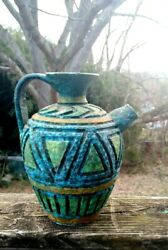 Vintage Antique Made In Italy Water Vessel Pitcher Pottery Geometric 7/9 ❤️ts8j